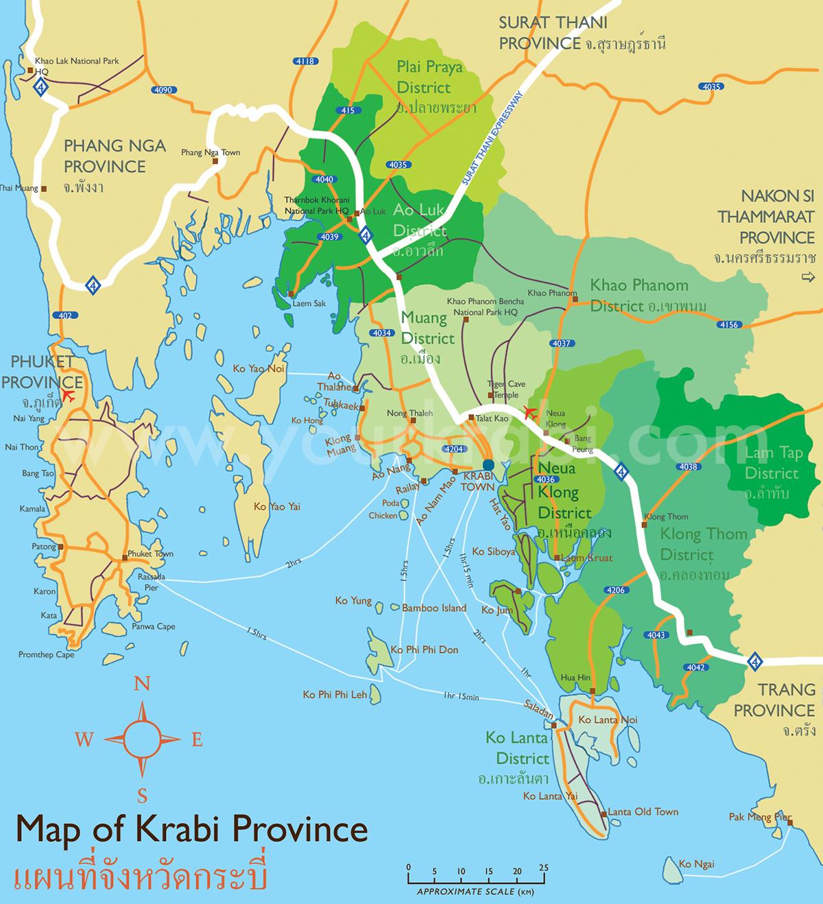 detailed map of krabi thailand - 1080×720